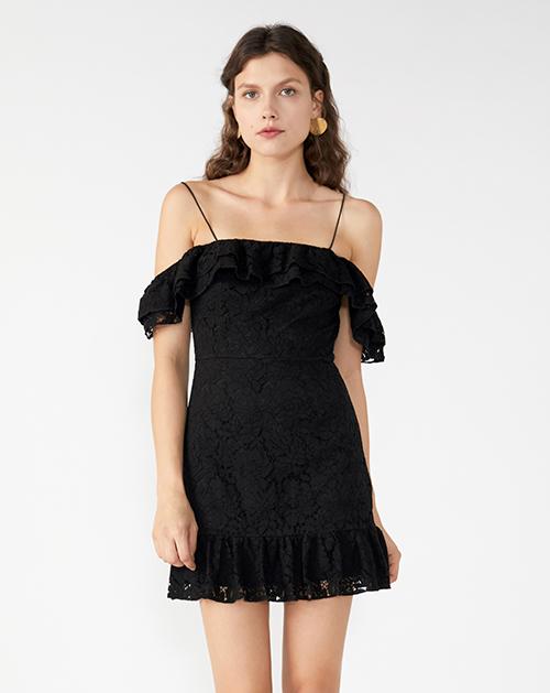 广州服装厂2019春夏新款欧美蕾丝一字肩吊带连衣裙