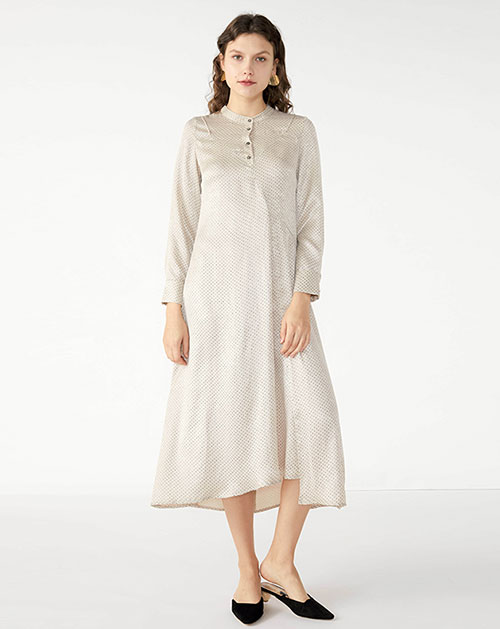 欧美新款长袖宽松不规则波点连衣裙