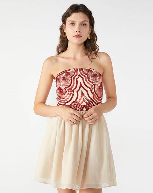 广州服装厂2019春夏新款裹胸露肩撞色拼接礼服裙