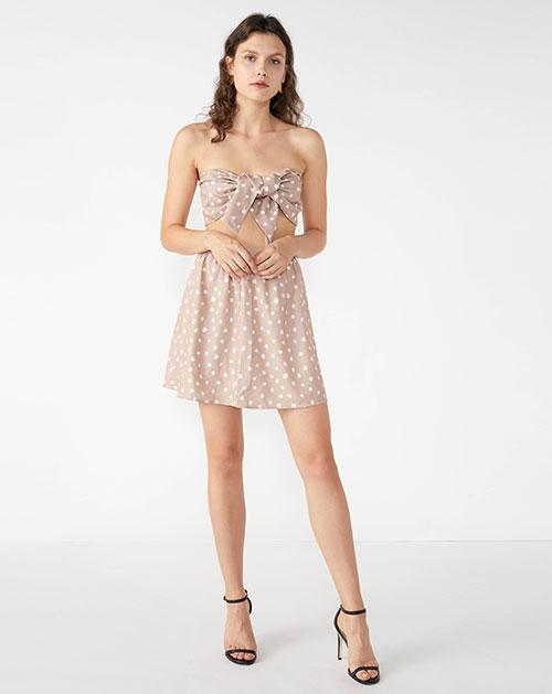 广州服装厂欧美新款裹胸蝴蝶结拼接波点连衣裙套装