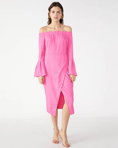 广州服装厂欧美新款一字领拼接喇叭袖开衩中长连衣裙