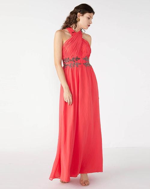 广州服装厂欧美时尚新款挂脖无袖拼接褶皱纯色礼服长裙