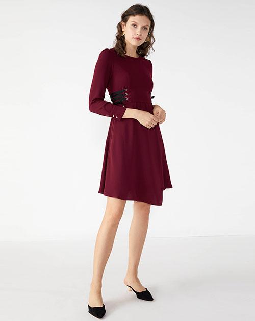 广州服装厂新款不规则系带撞色拼接纯色连衣裙