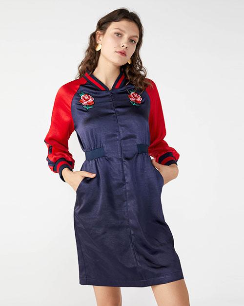 广州服装厂欧美时尚褶皱拼接撞色开衫连衣裙