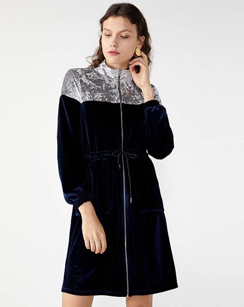 广州服装厂欧美休闲长袖撞色拼接收腰系带连衣裙