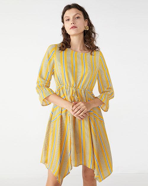 广州服装厂欧美新款不规则喇叭袖条纹连衣裙