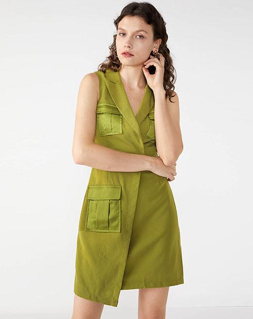 广州服装厂欧美新款不规则无袖纯色连衣裙