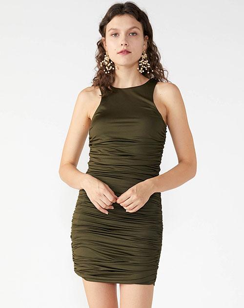 广州服装厂欧美新款无袖拼接褶皱背心连衣裙