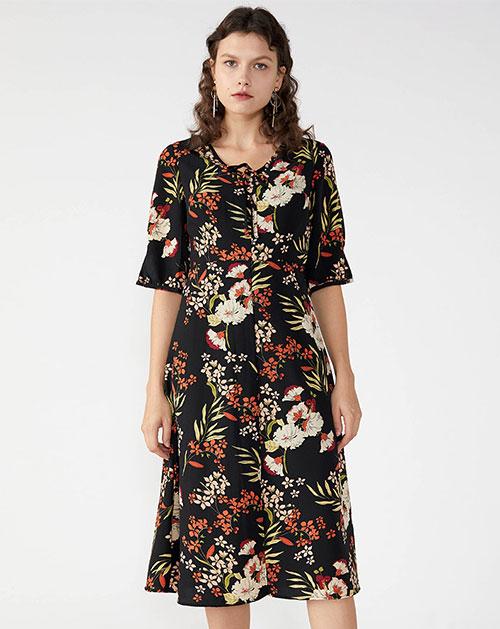 广州服装厂欧美高腰短袖印花连衣中长裙