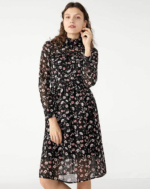 广州服装厂欧美新款喇叭袖收腰拼接碎花连衣裙