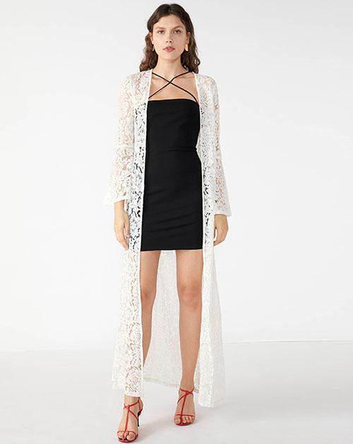 广州服装厂2019欧美新款喇叭袖纯色蕾丝镂空开衫外套