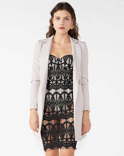 广州服装厂翻领蝴蝶结系带长袖纯色开衫外套