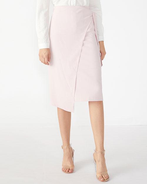 广州服装厂不规则蝴蝶结系带纯色雪纺半身裙