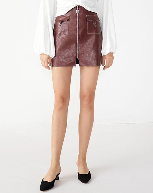 广州服装厂欧美新款口袋拼接纯色A字短裙