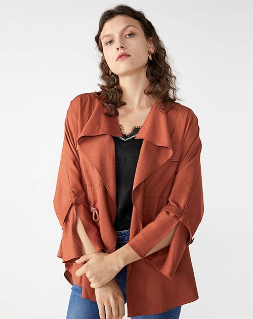 广州服装厂欧美新款休闲荷叶边拼接纯色开衫外套