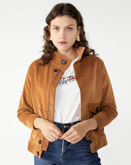 广州服装厂欧美纯色拼接口袋短款外套上衣
