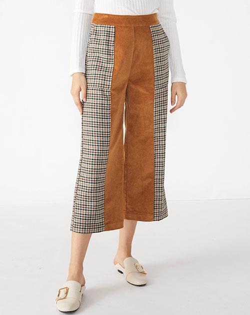 广州服装厂欧美秋季新款格纹拼接撞色阔腿裤