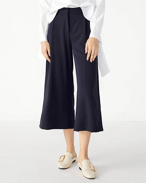 广州服装厂欧美新款格纹拼接中长款高腰阔腿裤