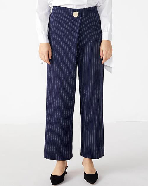 广州服装厂欧美新款不规则高腰宽松条纹长裤