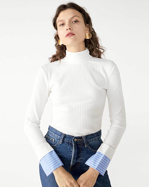 广州服装厂欧美新款高领针织白色打底上衣