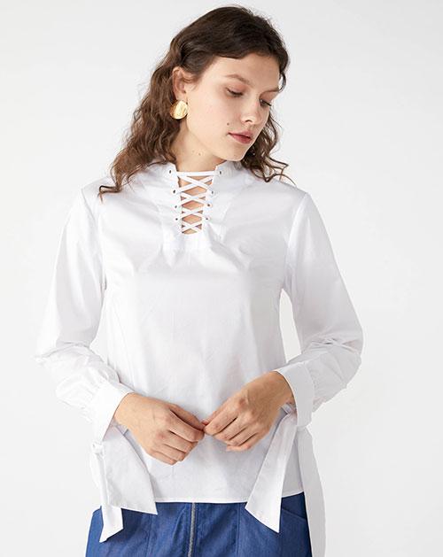 广州服装厂蝴蝶结系带拼接宽松纯色衬衫上衣