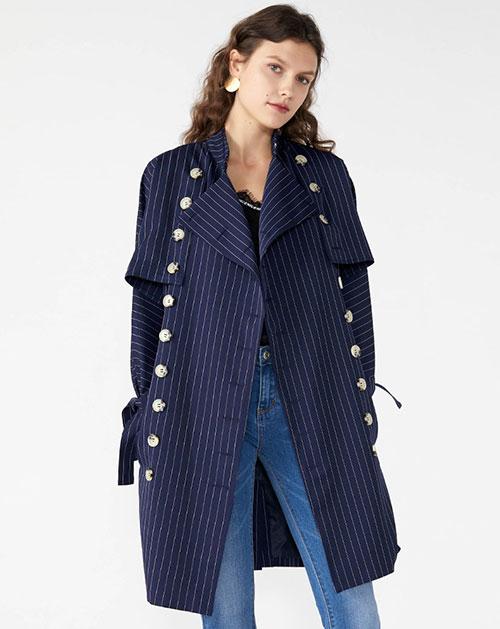 广州服装厂翻领披肩拼接长袖条纹中长款外套上衣