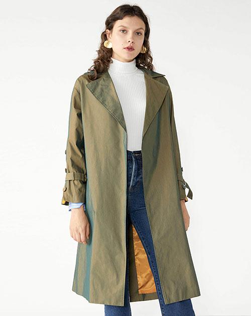 广州服装厂休闲翻领腰带拼接中长款纯色外套上衣