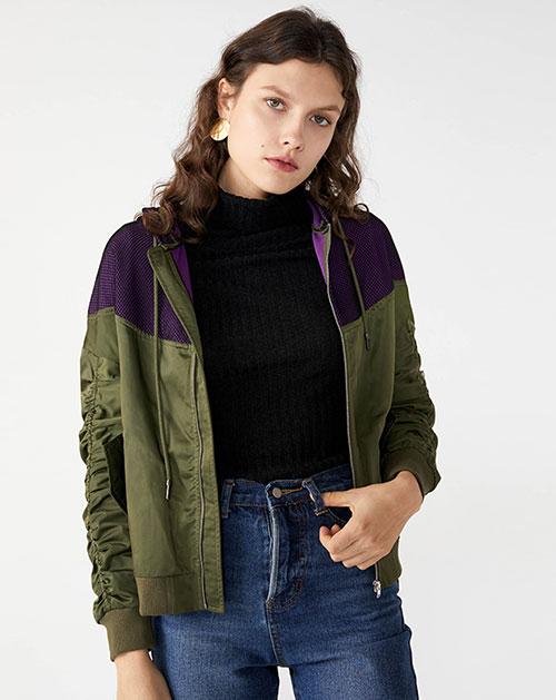 广州服装厂休闲撞色拼接连帽外套上衣
