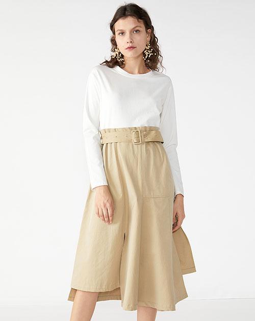 广州服装厂欧美新款不规则拼接长袖撞色连衣裙