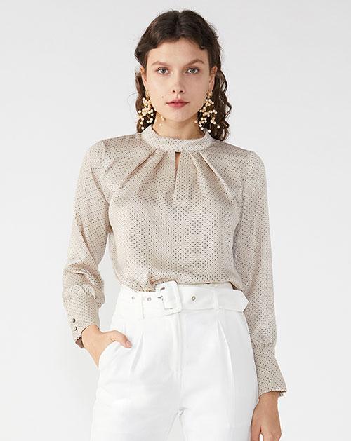 广州服装厂欧美新款立领褶皱拼接波点衬衫上衣