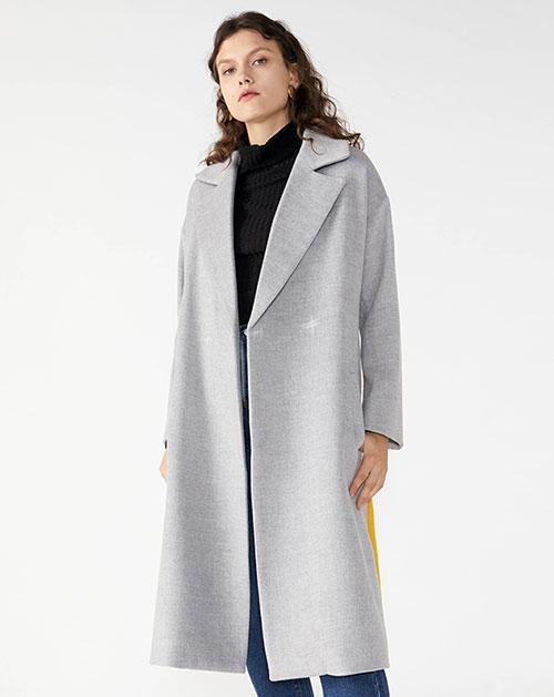 广州服装厂欧美女装翻领撞色中长款毛呢休闲外套