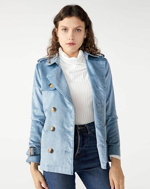 广州服装厂欧美新款翻领腰带拼接纯色外套