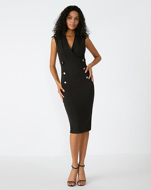 广州服装厂欧美V领无袖黑色中长包臀连衣裙