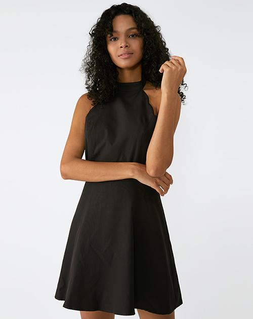 广州服装厂欧美新款无袖挂脖露背黑色A字裙