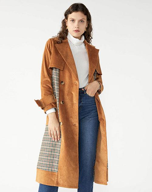 广州服装厂欧美新款翻领拼接中长款格纹开衫外套
