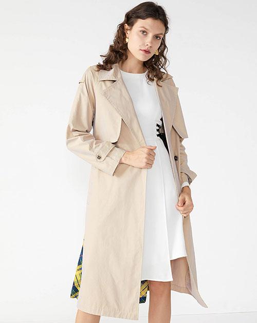 广州服装厂欧美新款翻领拼接中长款格纹外套上衣