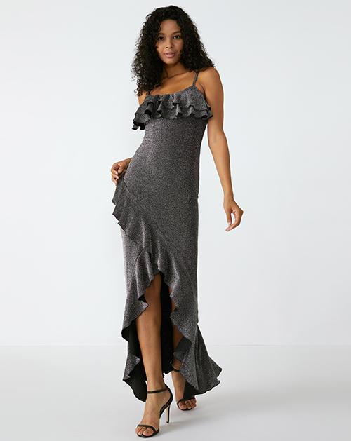 外贸服装厂欧美新款吊带荷叶边拼接不规则连衣裙