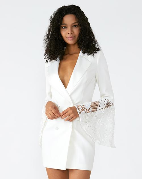 外贸服装厂欧美新款翻领喇叭袖拼接白色西装连衣裙