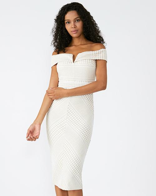 外贸服装厂欧美新款一字肩V领收腰中长款白色连衣裙