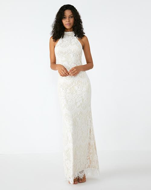 外贸服装厂2019春夏新款挂脖无袖白色蕾丝连衣裙