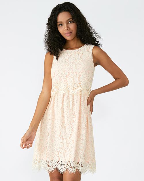 外贸服装厂2019春夏新款无袖圆领纯色蕾丝连衣裙