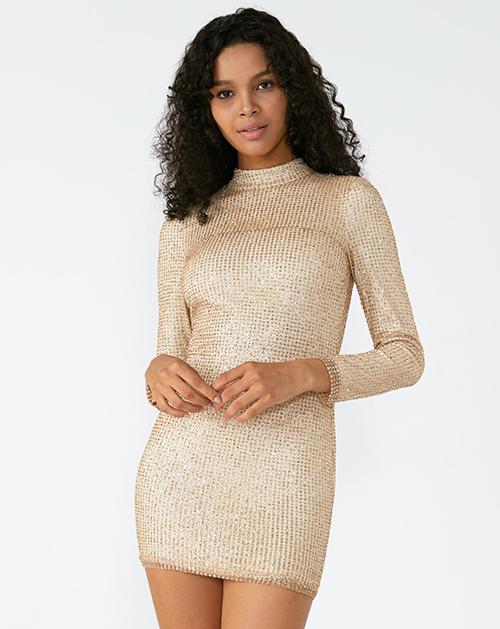 外贸服装厂2019春夏新款长袖收腰纯色包臀连衣裙