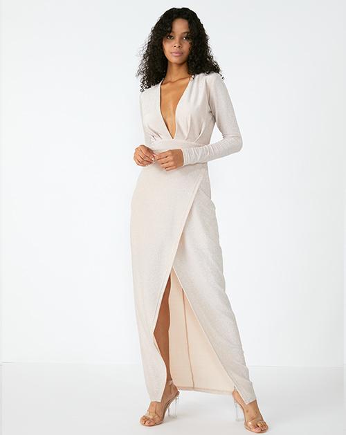 外贸服装厂欧美新款女装纯色V领连衣裙