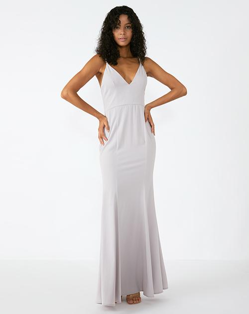 外贸服装厂2019春夏新款浅灰色收腰吊带连衣裙