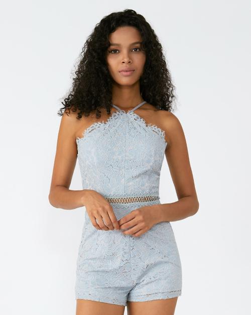 外贸服装厂2019春夏新款蓝色挂脖吊带蕾丝连体裤