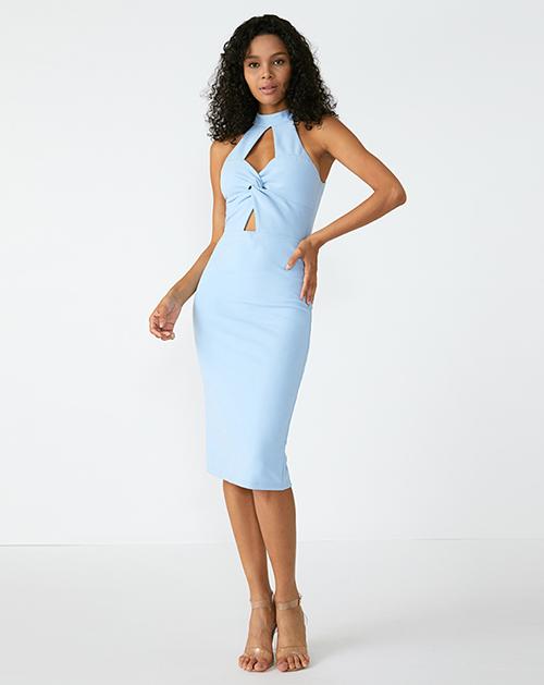 外贸服装厂2019春夏新款立领收腰包臀连衣裙
