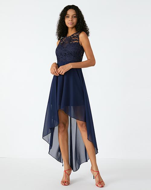 外贸服装厂2019春夏新款前短后长深蓝色蕾丝连衣裙