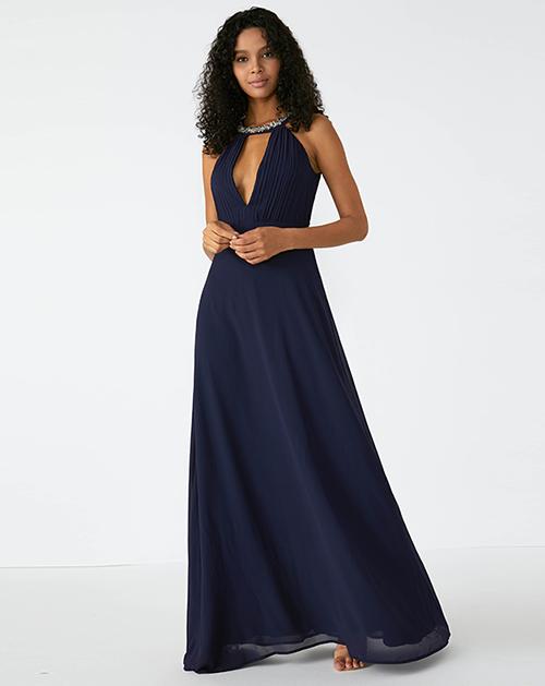 外贸服装厂2019春夏新款深蓝色V领褶皱雪纺连衣裙