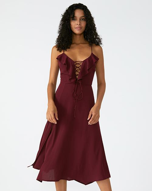 外贸服装厂2019春夏新款荷叶边红色吊带连衣裙