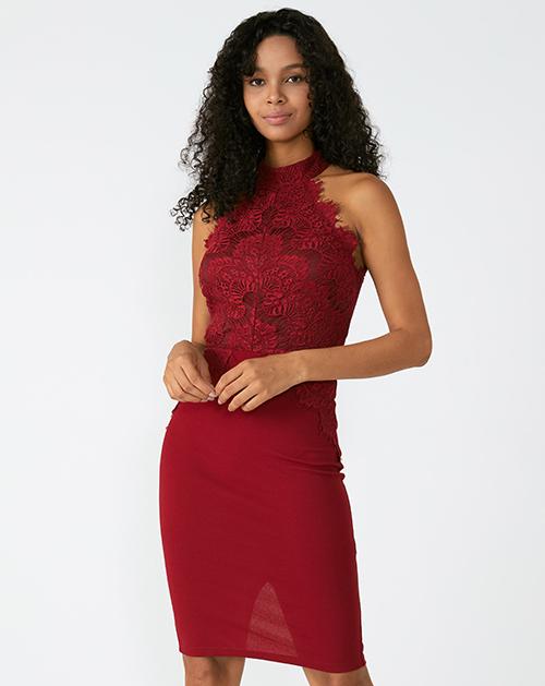 外贸服装厂2019春夏新款红色蕾丝包臀连衣裙